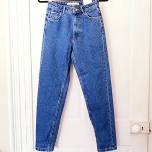 Zara Blue Denim High Waisted Tapered Mom Jeans